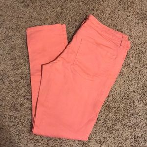 Coral colored skinny jeans